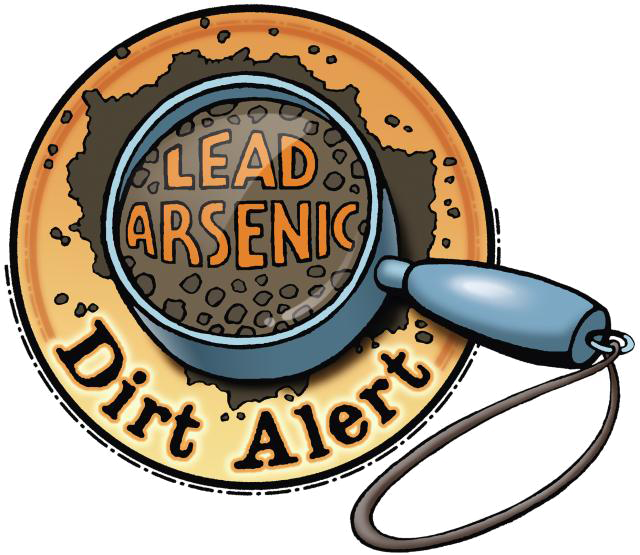 Dirt alert logo - magnifying glass focused on the words lead and arsenic in brown soil
