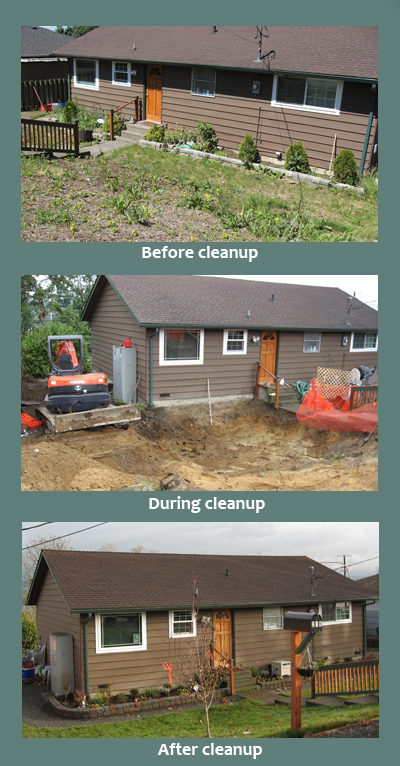 Pictures of a home before, during, and after cleanup. The before picture shows patchy grass. The during cleanup picture shows dirt and earthmoving equipment. The after pictures shows a landscaped yard