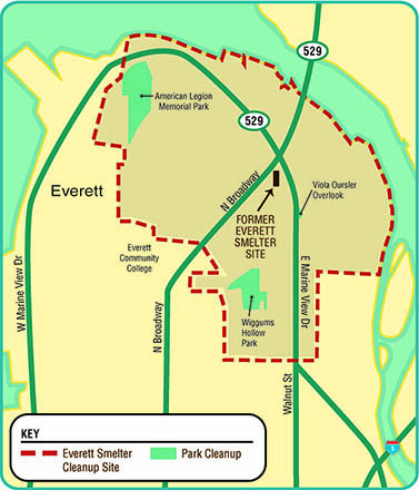 Map of Everett showing location of American Legion Memorial  and Wiggums Hollow Parks