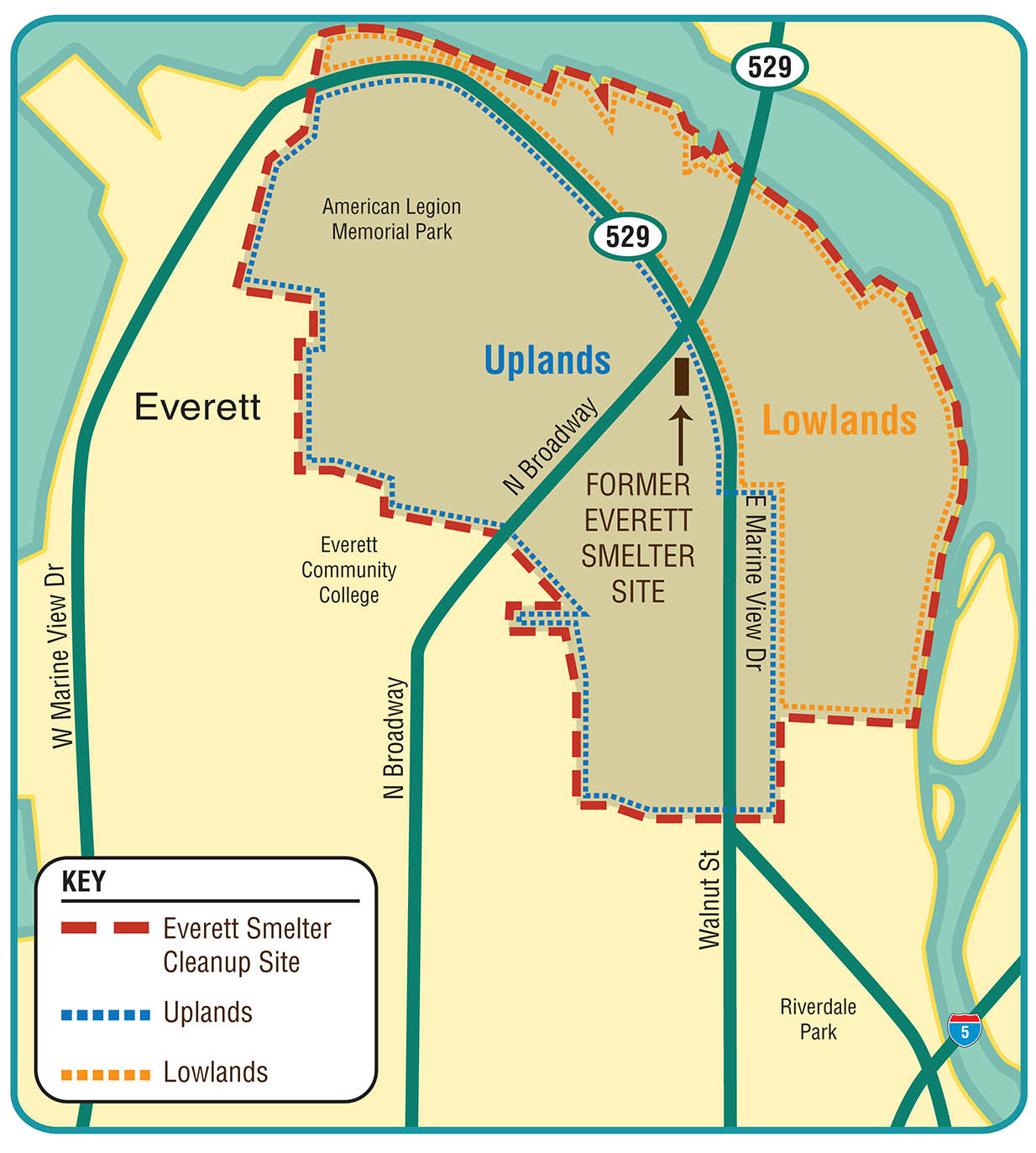 Map of the Everett Smelter cleanup area, showing the overall site boundary, the uplands and lowlands boundaries, and the footprint of the former smelter facility.