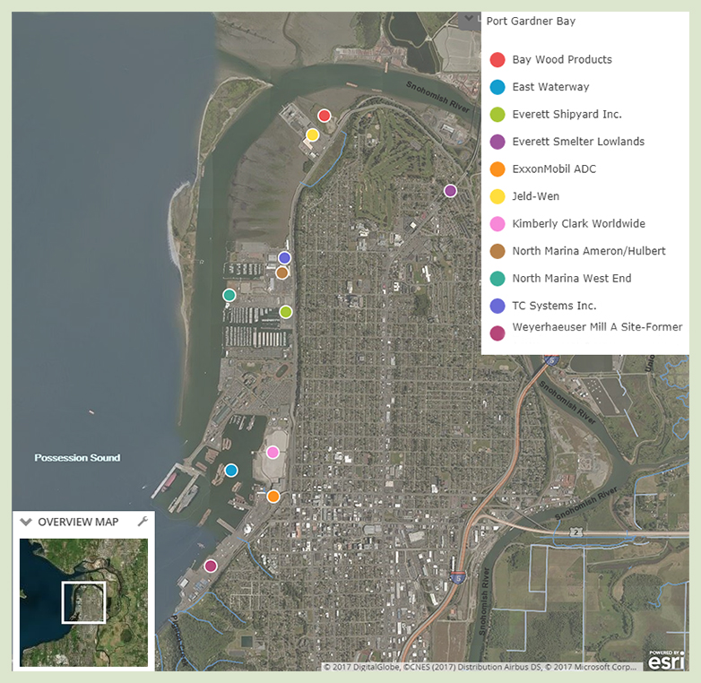 Map of Everett area baywide showing 11 cleanup locations, which are described below.