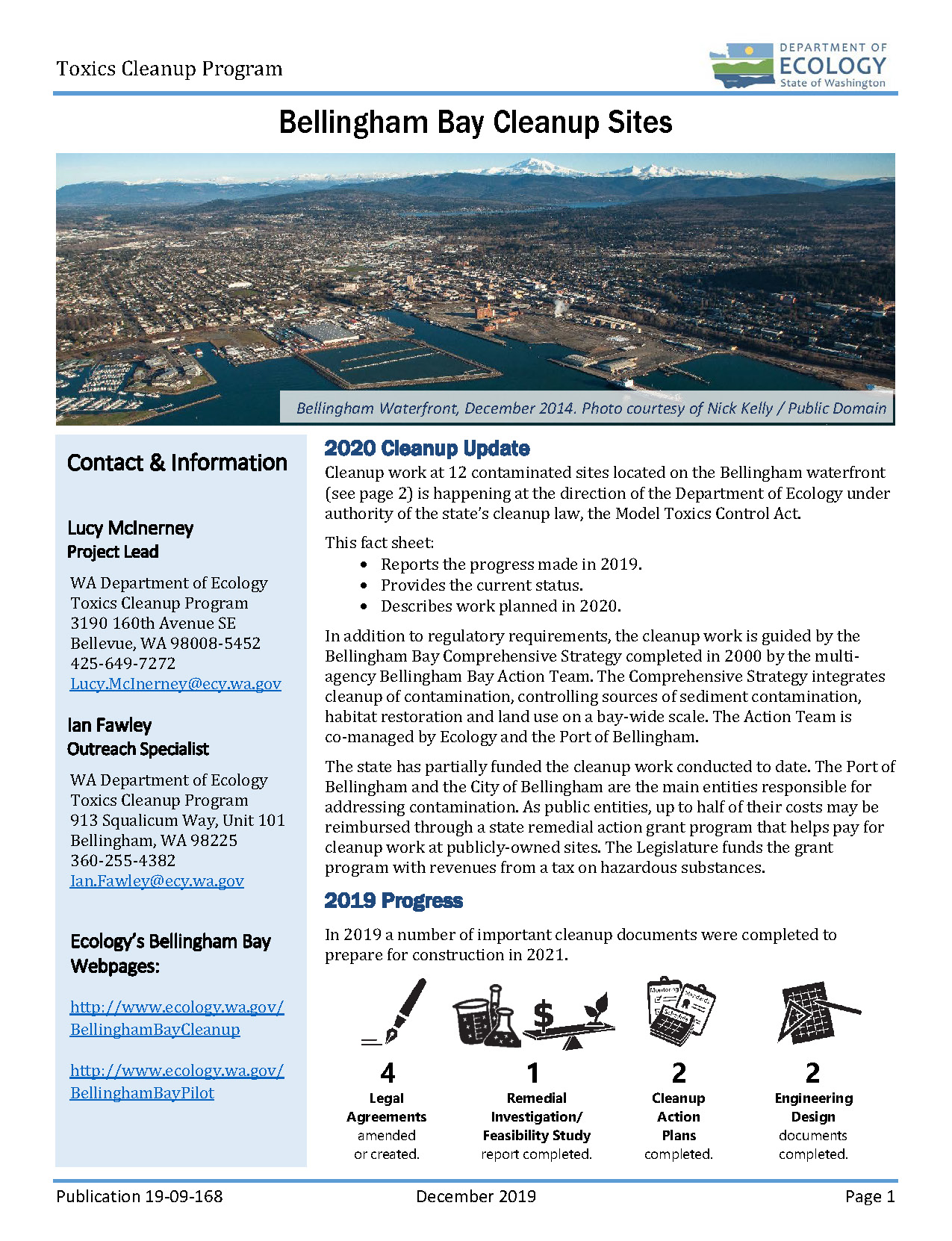 Fact sheet describing the 2019 progress, current status, and 2020 planned work for Bellingham Bay.