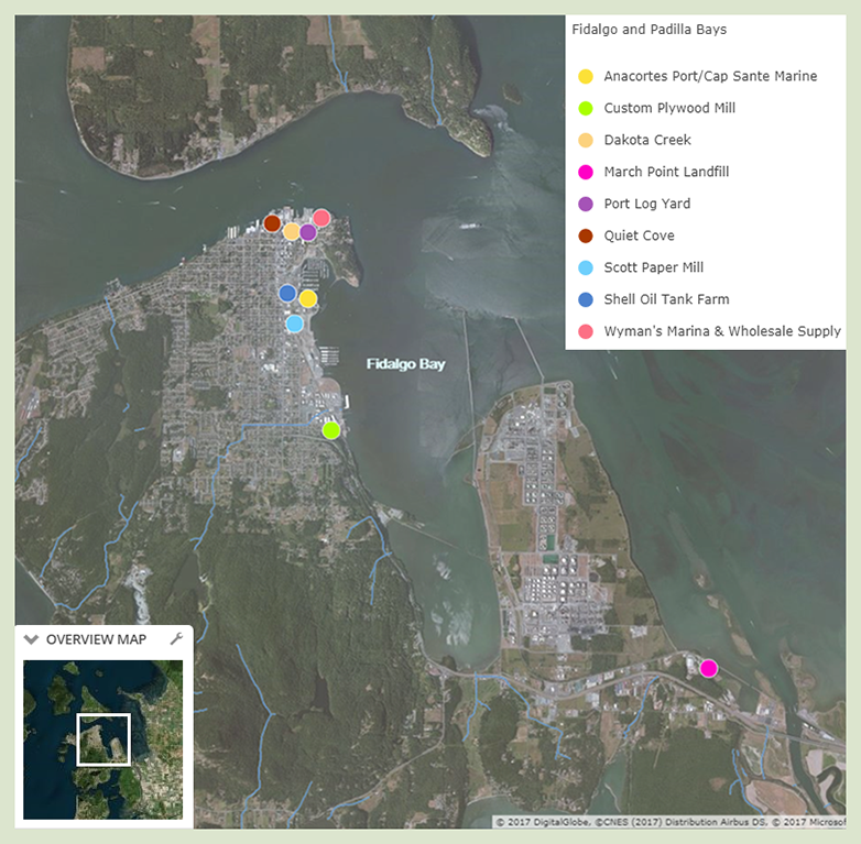 A map of Fidalgo Bay with colored dots indicating the nine cleanup sites. Details about those sites are below.