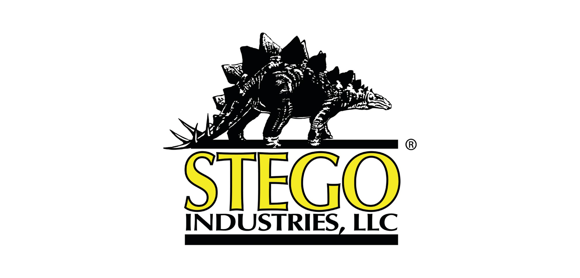 Logo for Stego Industries that has the company name and a dinosaur