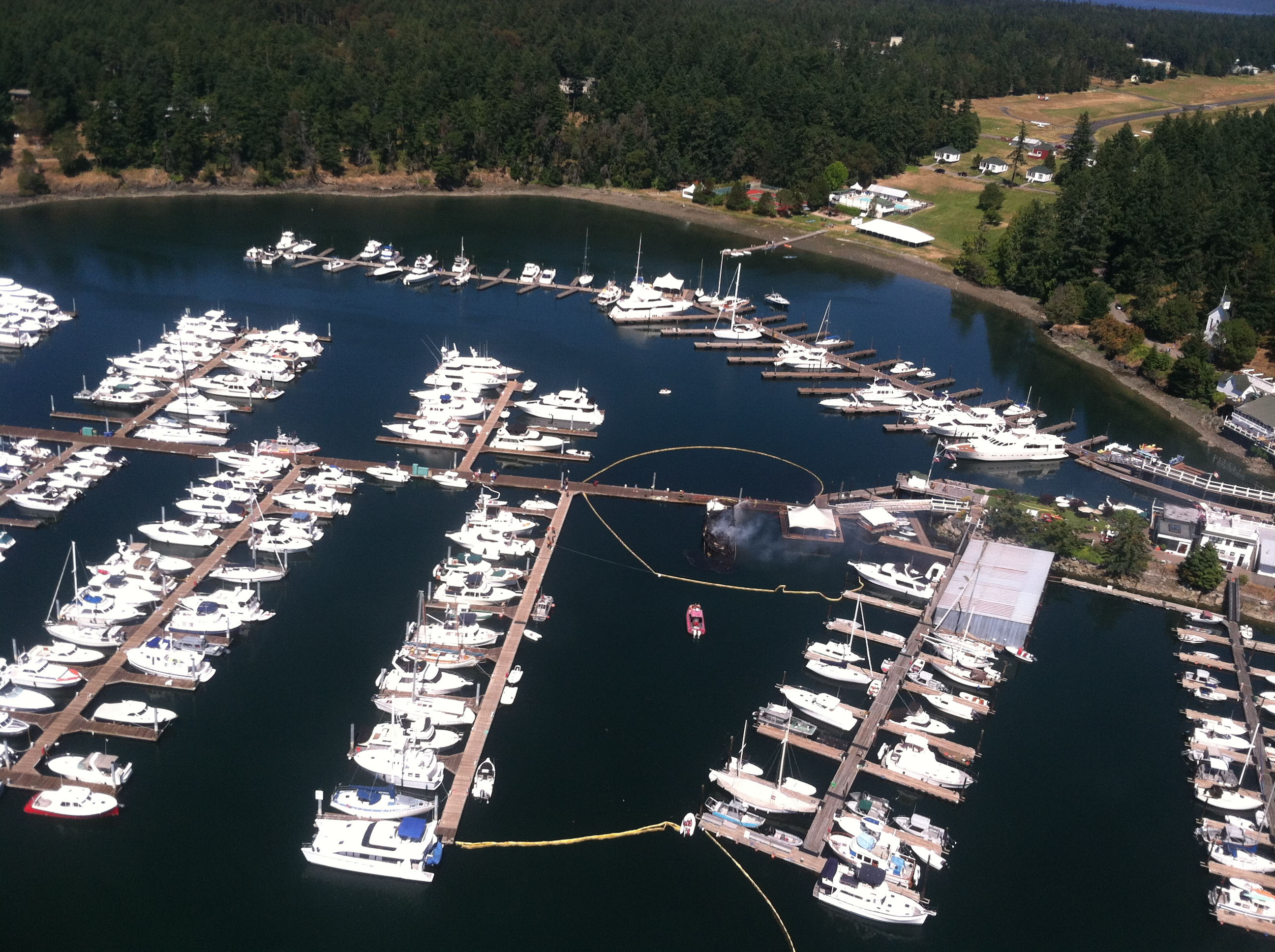 Ariel view of the Roche Harbor boat fire incident