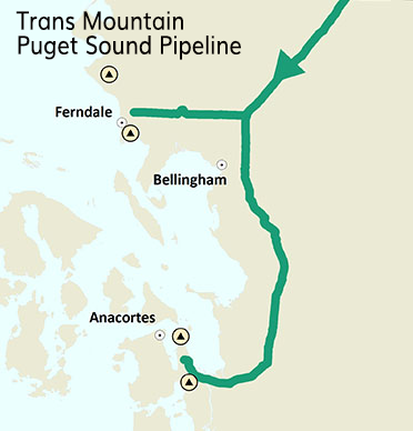 Map of 64-mile Trans Mountain Puget Sound Pipeline entering Washington from the north and ending at refineries in Ferndale and Anacortes. The pipeline passes just east of Bellingham on its way to Anacortes.