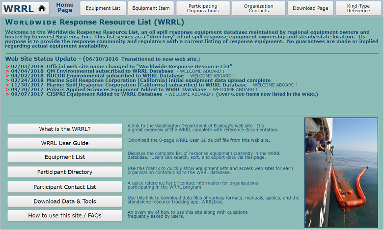 A screenshot of the Worldwide Response Resource List (WRRL) homepage. Available at www.wrrl.us.