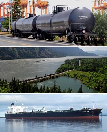 Oil train cars on tracks, an oil train crossing a river on a bridge, and a large vessel in the water.