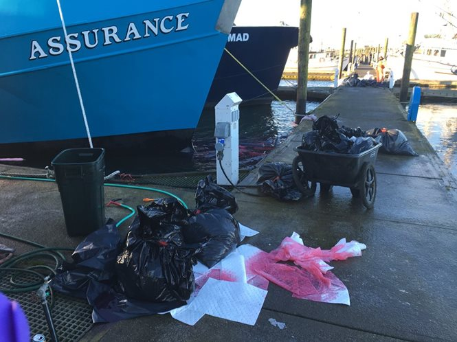 Vessel at dock. Oil soaked absorbent pads in water. Numerous garbage bags of oil soaked absorbents sit on the dock.