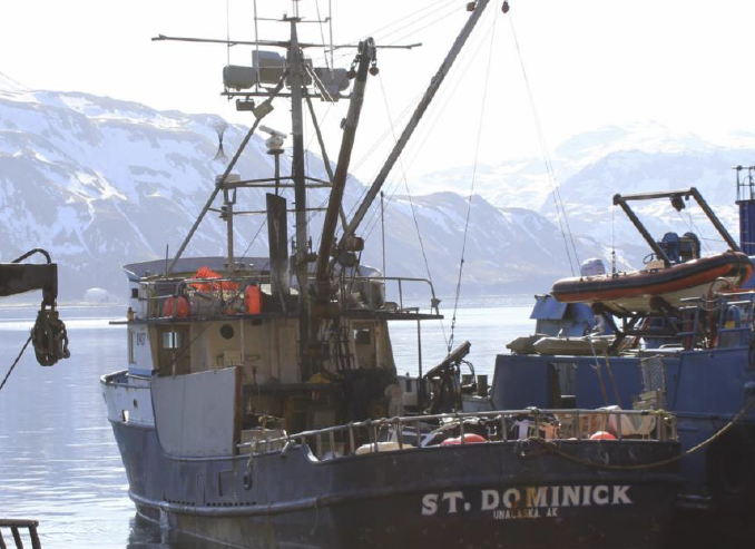 Fishing vessel ST DOMINICK, viewed from port stern, at Dutch Harbor, Alaska, after the incident.
