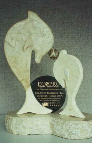Marble trophy of two dolphins and the ECOPRO logo