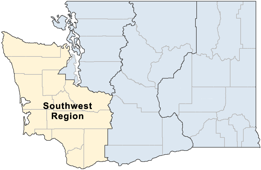 Map showing the Southwest region