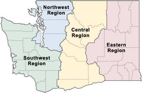 State map showing Ecology's four regions with links to regional contact information
