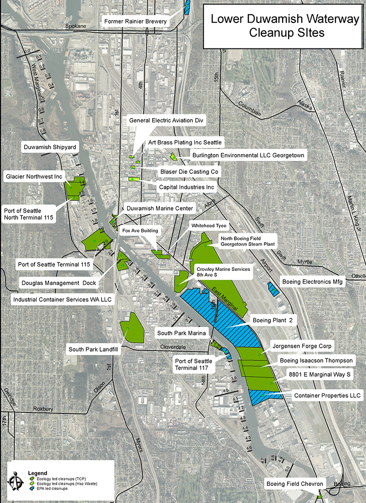 This map shows cleanup sites being managed by Ecology and EPA in the Lower Duwamish source control area.