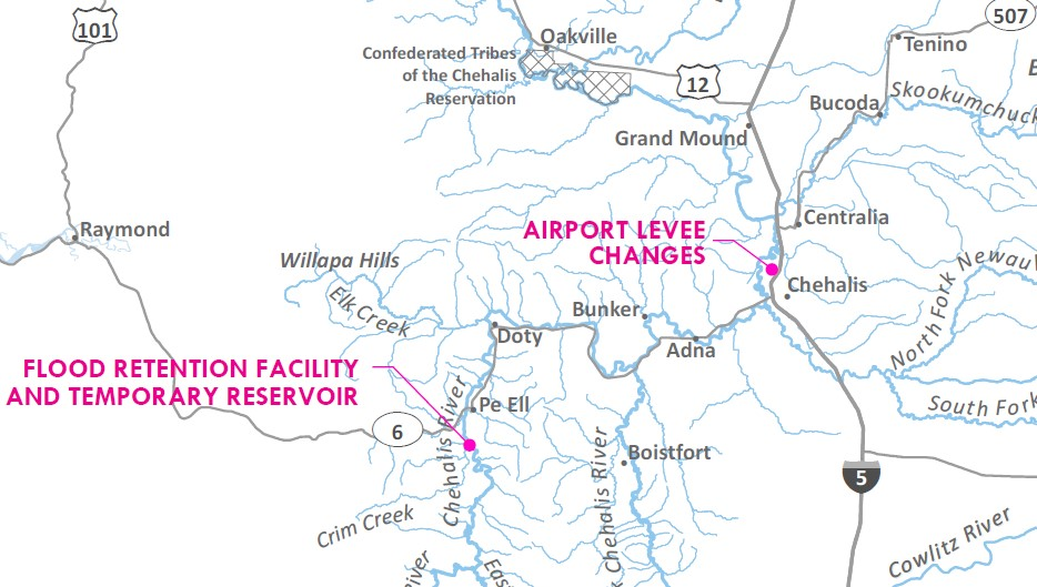 Proposed flood retention facility is south of Pe Ell, and airport levee changes would be north of Chehalis near I-5.