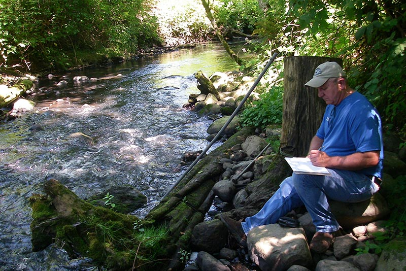 Scientist writes notes with a pen while sitting on a stream bank beside a tree stump