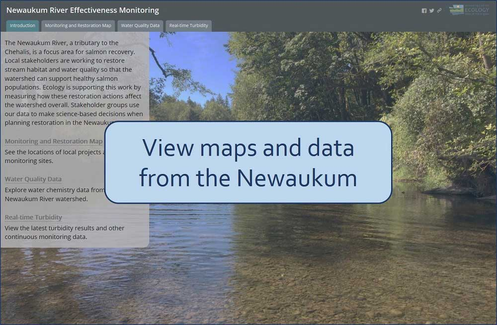 Icon to map that displays data from the Newaukum River effectiveness monitoring project. Text over the image says