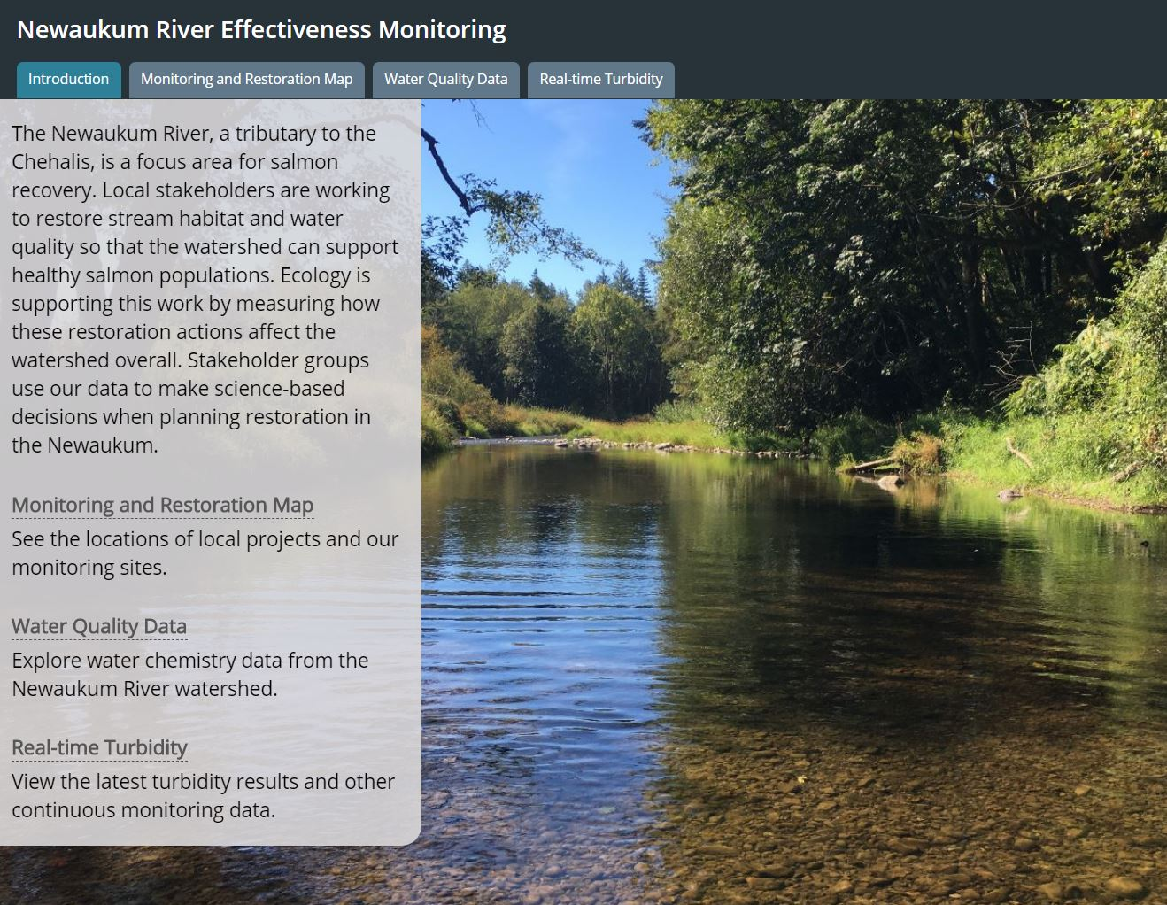Story map that displays data from the Newaukum River effectiveness monitoring project. Text over the image says