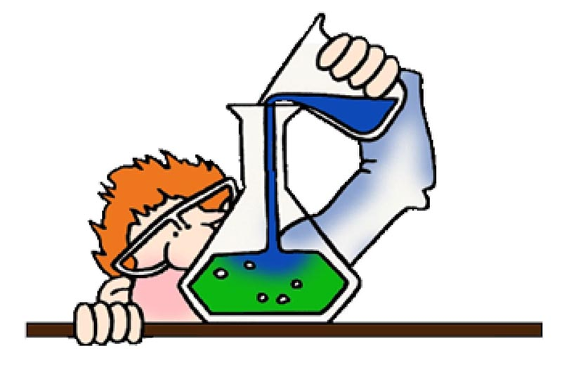 cartoon image of a red-faced person with bright orange hair and safety glasses pouring a blue substance into a flask of a green substance