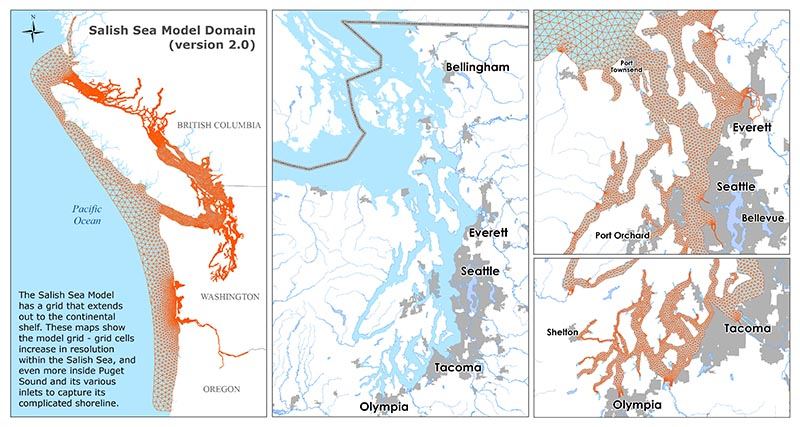 Four maps of the Salish Sea model with grid lines extending around the coastlines from Canada to Oregon, mapping out the Salish Sea. The maps show increasing resolution within Puget Sound.