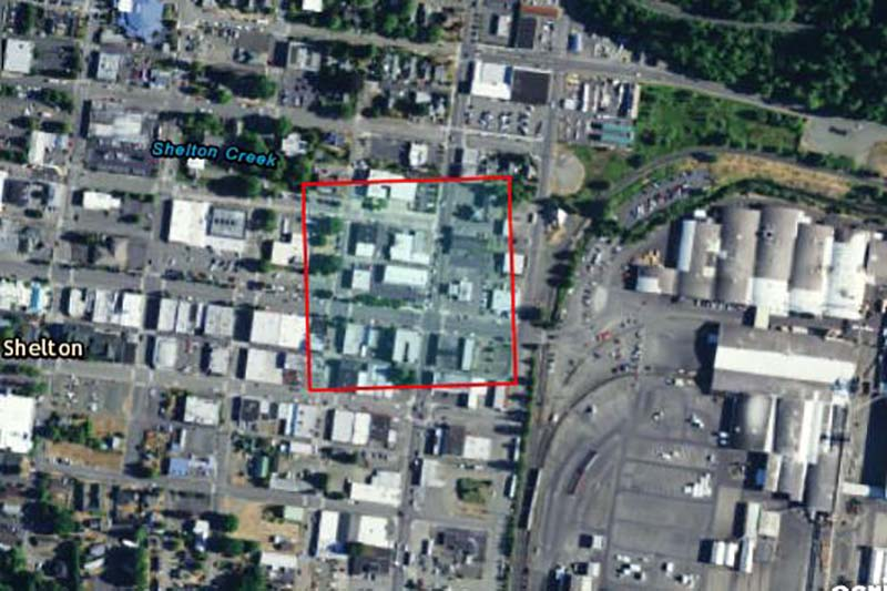 Aeriel view of Shelton laundry site with outline square showing the extent of contamination.