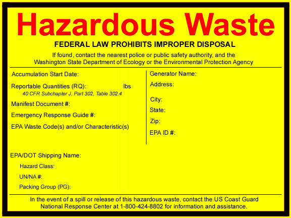 image regarding Free Printable Hazardous Waste Labels named Print no cost labels - Washington Nation Office of Ecology