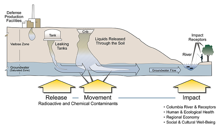 Diagram shows how liquid waste may have entered the soil: from Hanford facilities, leaking underground tanks, or cribs where waste was dumped. Arrows show release of contaminates moving toward river.
