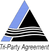 Logo with two overlapping triangles, blue and black, with waves and the words Tri-Party Agreement.