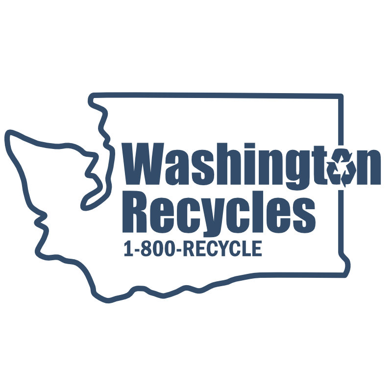 This is an image of the Washington Recycles 1-800-RECYCLE logo.