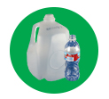 Clean bottles go into the recycling bin