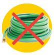 Don't put hoses and wires in the recycling bin.