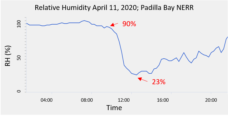 Line graph showing relative humidity dropping from 90% to 23% on April 11, 2020, between 9 a.m. and 1 p.m.