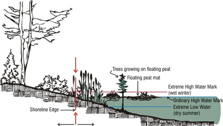Shoreline cross-section showing extreme high water mark, ordinary  high water mark, and extreme low water mark in relation to vegetation and distance from shore.