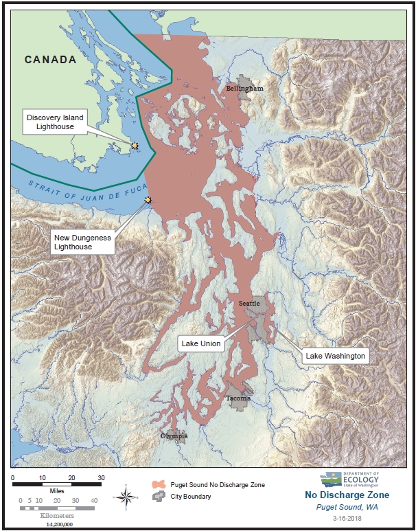 Map of proposed no discharge zone. Includes all marine waters east of New Dungeness Lighthouse, plus lakes Union & Washington and waters connecting them to Puget Sound.