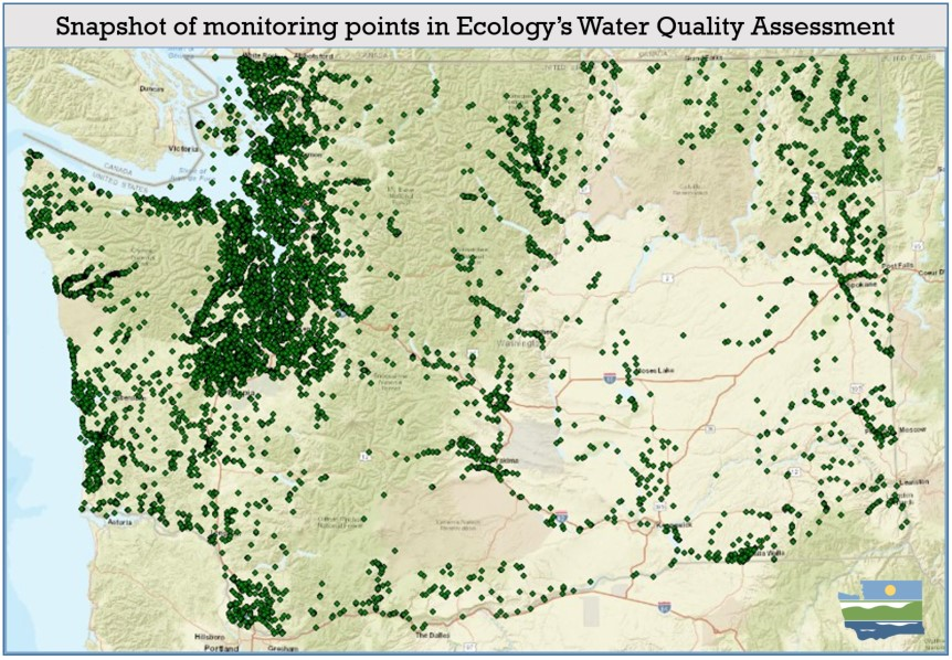 map of Washington state with green dots to show where water quality monitoring is in place.