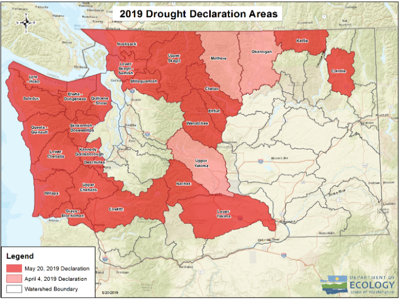 A map that shows the watersheds colored in red and pink that represent the April and May drought declaration areas.