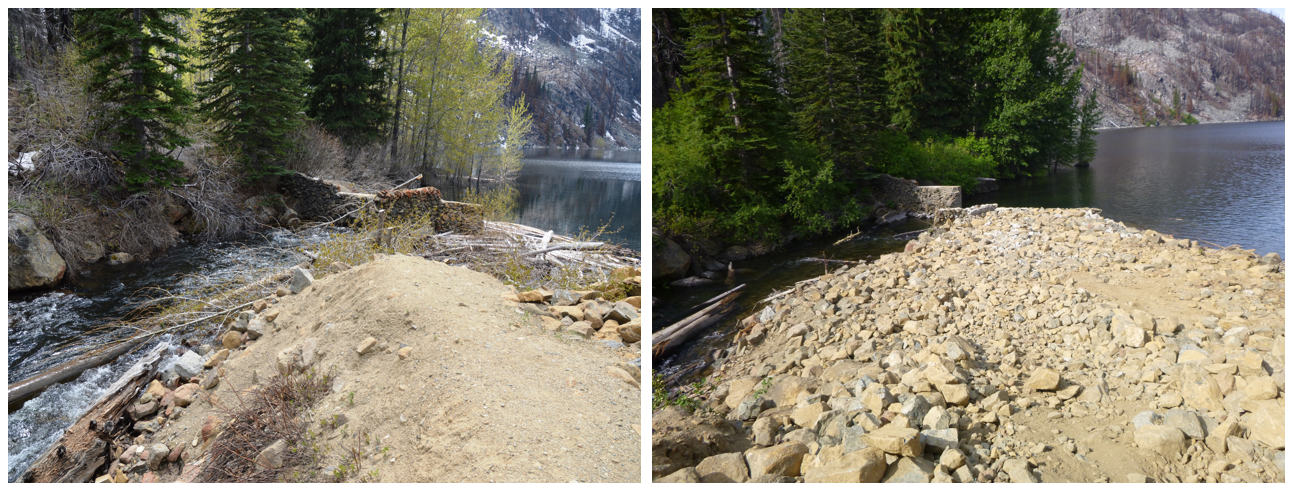 May and June 2018 photos of repairs to Eightmile dam in Chelan county Washington. Woody debris removed and damaged area filled with rock.