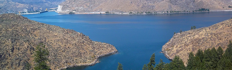 View of Lake Roosevelt abutting Grand Coulee Dam along the Columbia River.
