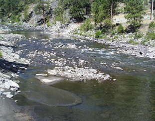 Low flows are seen in Icicle Creek in 2001.