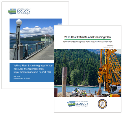 Illustrations depicting covers of Yakima basin integrated plan reports
