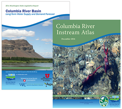 Illustrations depict covers for the Supply and Demand Forecast and companion Columbia River Instream Atlas