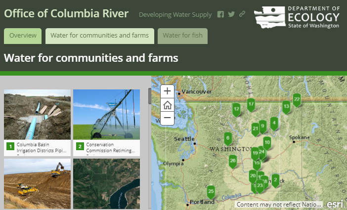 Screenshot of interactive map showing map page identifying projects for communities and farms.