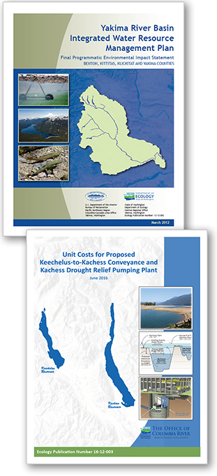 Graphics illustrate  the covers of some of the Yakima Basin Integrated Plan reports available in this tab section