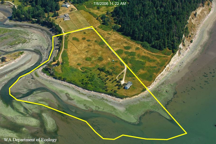 A yellow line outlines 39-acres identified on Barnum Point for protection in the Port of Susan Bay on the east side of Camano Island, Washington