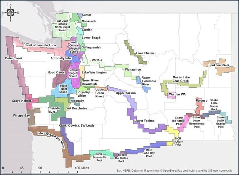 Map of GRP coverage in Washington state. Coverage exists primarily in areas of the coastline, rivers, or Puget Sound.