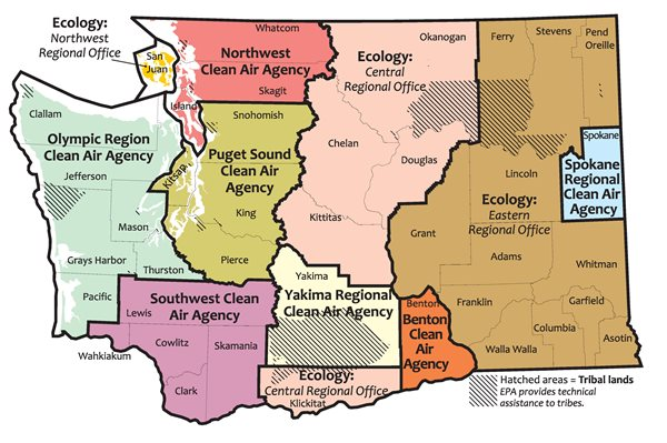 Map of Washington showing local clean air agency jurisdictions
