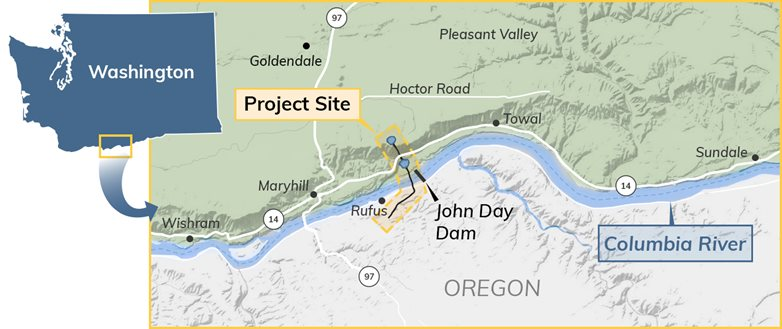 Project location just above John Day Dam next to the Columbia River in Washington state.