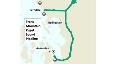 Geographic map of location of pipeline in Washington state.