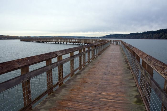 The boardwalk at Billy Frank Nisqually National Wildlife Refuge, during a king tide showing high levels of sea water nearly up to the deck.